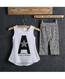 Kuddle Kids Animal Print Cycling Pant & Top Set - White