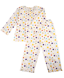 Cuddle Up Star Nightsuit For Girls - Multicolour