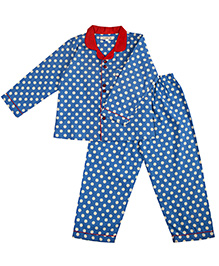 Cuddle Up Polka Dot Night Suit For Boys - Blue & Red
