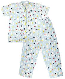 Cuddle Up Aeroplane Night Suit For Boys - Multicolour