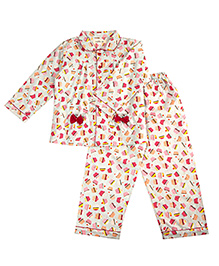 Cuddle Up Cupcake Night Suit For Girls - Multicolour