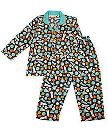 Cuddle Up Space Print Night Suit For Boys - Black