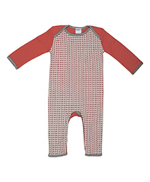 Magicberry Full Sleeves Romper Elephant Print - Red White