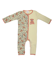 Magicberry Full Sleeves Romper Teddy Embroidery - Yellow Peach