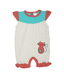 Magicberry Cap Sleeves Dotted Romper Cat Embroidery - Off White Red