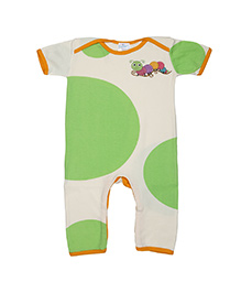 Magicberry Short Sleeves Romper Caterpillar Embroidery - Green Off White