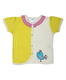 Magicberry Short Sleeves Top Bird Embroidery - Yellow Off White