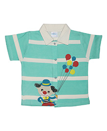 Magicberry Short Sleeves Stripe Shirt Clown Print - Turquoise White