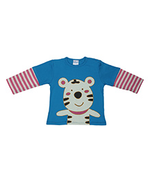 Magicberry Doctor Sleeves T-Shirt Tiger Print - Blue Red