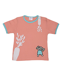 Magicberry Short Sleeves T-Shirt Bunny Embroidery - Peach