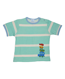 Magicberry Short Sleeves Stripe T-Shirt Car Embroidery - Turquoise