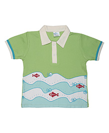 Magicberry Short Sleeves T-Shirt Fish Print - Green Blue