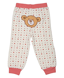 Magicberry Full Length Dotted Bottoms Teddy Embroidery - Off White Peach