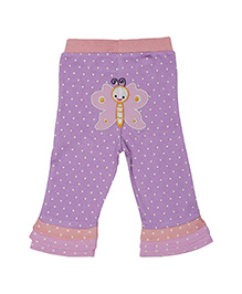 Magicberry Full Length Dotted Leggings Butterfly Embroidery - Purple Peach