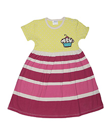Magicberry Short Sleeves Frock Cupcake Embroidery - Yellow Maroon