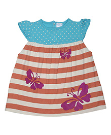 Magicberry Cap Sleeves Dotted And Stripe Frock Butterfly Print - Blue Orange