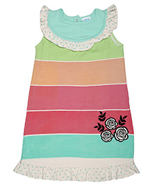 Magicberry Sleeveless Stripe Frock Floral Embroidery - Multicolour