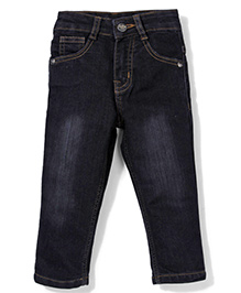 Babyhug Full Length Jeans With Five Pockets - Black