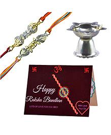 Angel Glitter Alpha Man Didi Ki Hifasat Bhai Ki Zimmedaari Diamond Studded Rakhi With Diya - Set Of 2