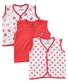 Babyhug Sleeveless Jhabla Vest Pack of 3 - Red And White