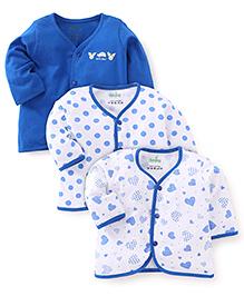 Babyhug Full Sleeves Multi Print Jhabla Vests Set Of 3 - White & Royal Blue