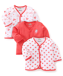 Babyhug Full Sleeves Multi Print Jhabla Vests Set Of 3 - White & Coral
