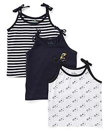 Babyhug Shoulder Tie Up Jhabla Slips Pack of 3 - Navy And White
