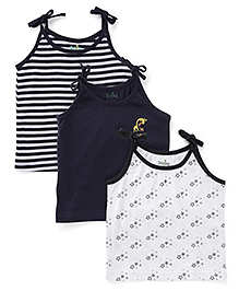 Babyhug Shoulder Tie Up Jhabla Slips Pack of 3 - Navy And White