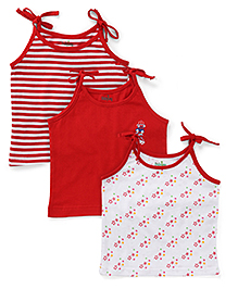 Babyhug Shoulder Tie Up Jhabla Slips Pack of 3 - Red And White