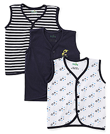 Babyhug Sleeveless Vests Pack Of 3 - Navy Blue White