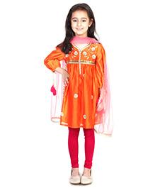 Pre Order : Chiquitita By Payal Bahl Gota Flower & Bead Work Suit - Orange