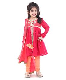 Pre Order : Chiquitita By Payal Bahl Alice Suit Embellished With Crystals & Beads - Pink & Peach