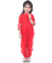 Pre Order : Chiquitita By Payal Bahl Indo Western Bodice & Flowy Pleated Cowl With Leggings - Red