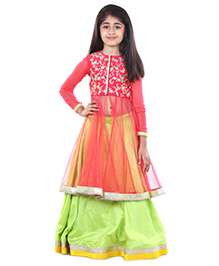 Pre Order : Chiquitita By Payal Bahl Jacket Lehnga Set With Zari Embroidery- Coral & Green