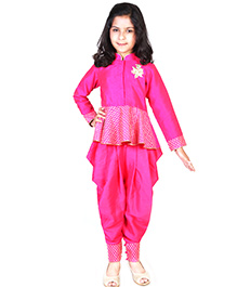 Pre Order : Chiquitita By Payal Bahl Indo Western Peplum Top With Swaroski Work Dhoti Salwar Suit - Pink