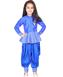 Pre Order : Chiquitita By Payal Bahl Indo Western Peplum Top With Swaroski Work Dhoti Salwar Suit - Blue