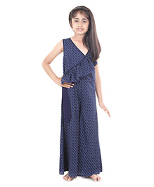 Pre Order : Chiquitita By Payal Bahl Dot Print Wrap Style Jump Suit - Navy