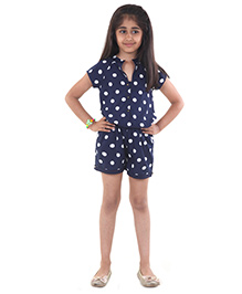 Pre Order : Chiquitita By Payal Bahl Polka Dot Short Jump Suit - Navy