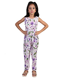 Pre Order : Chiquitita By Payal Bahl Floral Jumpsuit Embellished With Ghungroo Bunches At The Yoke - Purple
