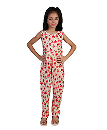 Pre Order : Chiquitita By Payal Bahl Floral Jumpsuit Embellished With Ghungroo Bunches At The Yoke - Red