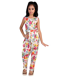 Pre Order : Chiquitita By Payal Bahl Floral Jumpsuit Embellished With Ghungroo Bunches At The Yoke - Multicolour