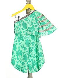 Mi Dulce An'ya Off-Shoulder Style Organic Top And Palazzo Set - Green