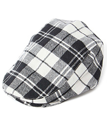 Little Hip Boutique Super Soft Plaid Beret - Black & White