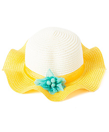 Little Hip Boutique Sunshine Flower Straw Hat - Yellow & Crème