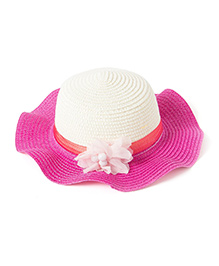 Little Hip Boutique Flower Straw Hat - Hot Pink