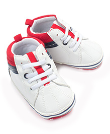Little Hip Boutique Pu Leather Lace Up Sneakers - Red White & Blue
