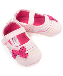 Little Hip Boutique Bow First Walkers - Baby Pink