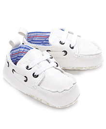 Little Hip Boutique Lace Up First Walkers - White