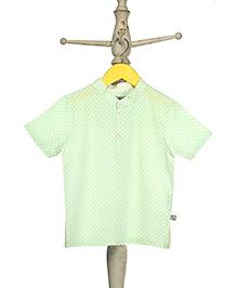 Mi Dulce An'ya Short Sleeves Organic Cotton Shirt Diamond Print - Green