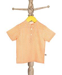 Mi Dulce An'ya Short Sleeves Organic Cotton Shirt Diamond Print - Orange